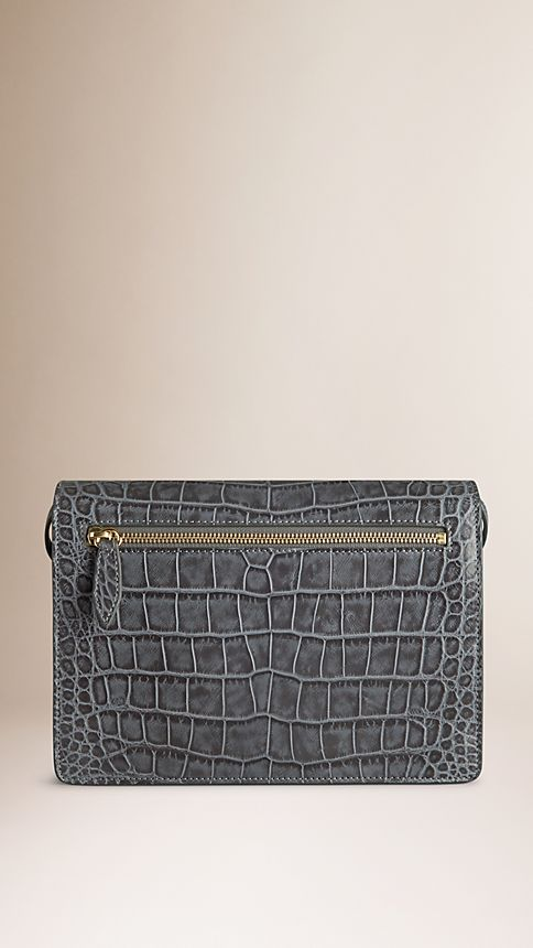 Grey Small Antiqued Alligator Crossbody Bag - Image 3