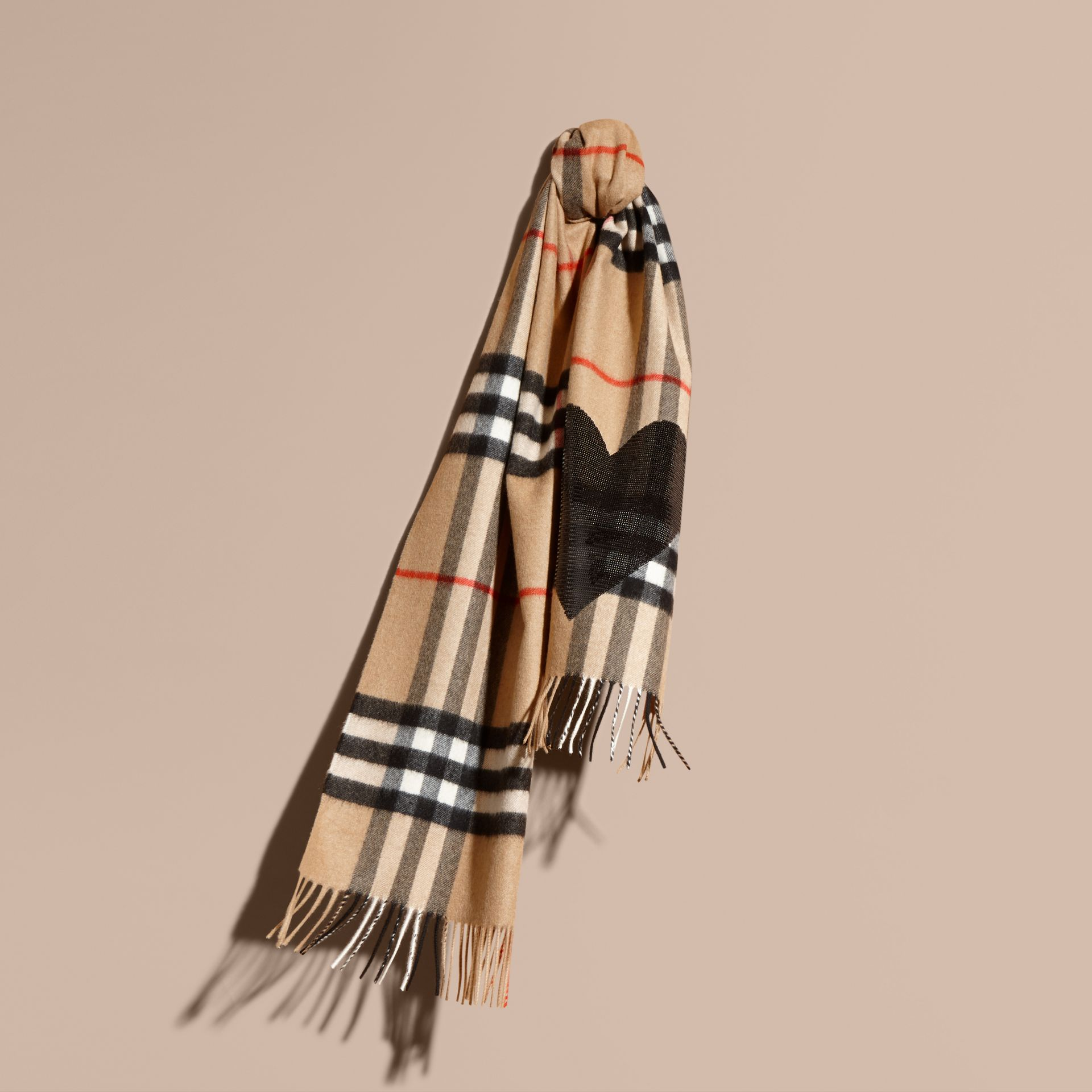 The Classic Cashmere Scarf in Check with Sequined Heart in Camel/black - gallery image 6