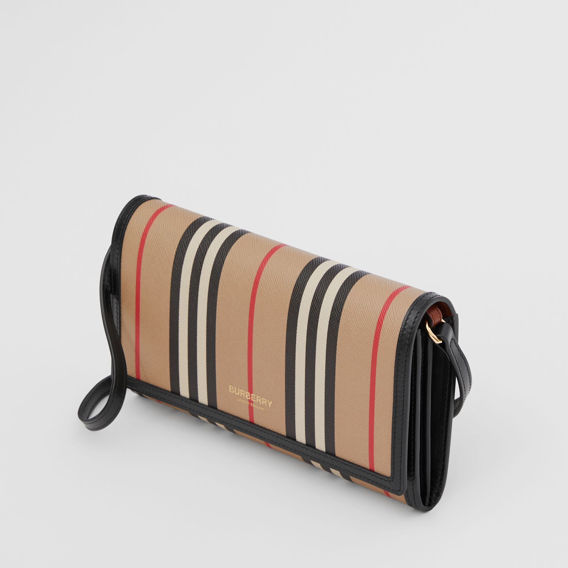Icon Stripe E-canvas Wallet with Detachable Strap in Archive Beige - Women | Burberry - gallery image 3