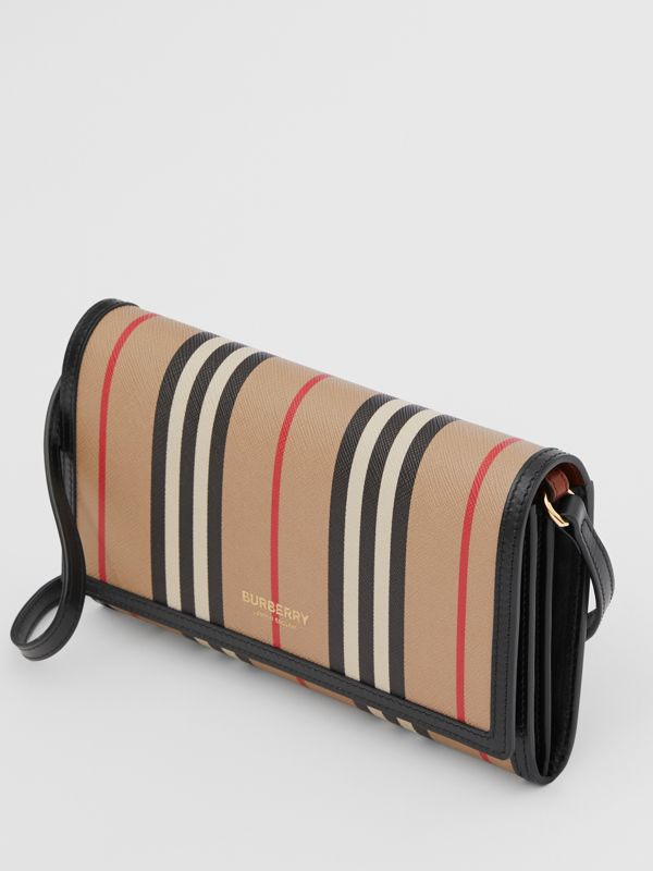 Icon Stripe E-canvas Wallet with Detachable Strap in Archive Beige - Women | Burberry - cell image 3
