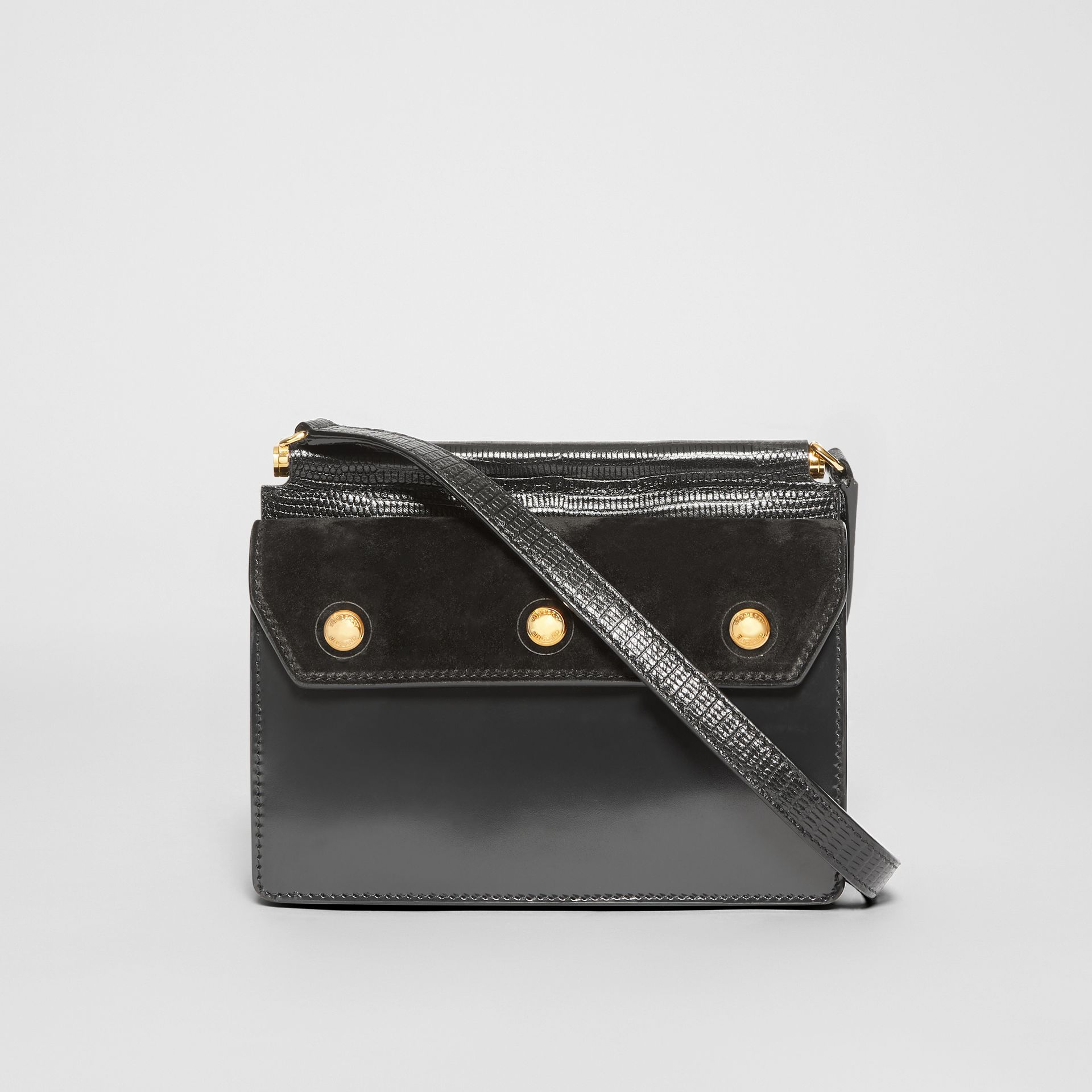 Mini Suede and Leather Title Bag with Pocket Detail in Black - Women | Burberry United Kingdom - gallery image 5