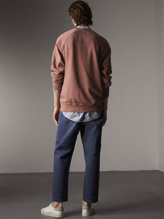 Unisex Pigment-dyed Cotton Oversize Sweatshirt in Dusty Mauve - Men | Burberry Canada - cell image 2