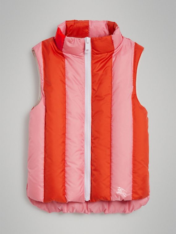 Striped Showerproof Down-filled Gilet in Powder Pink