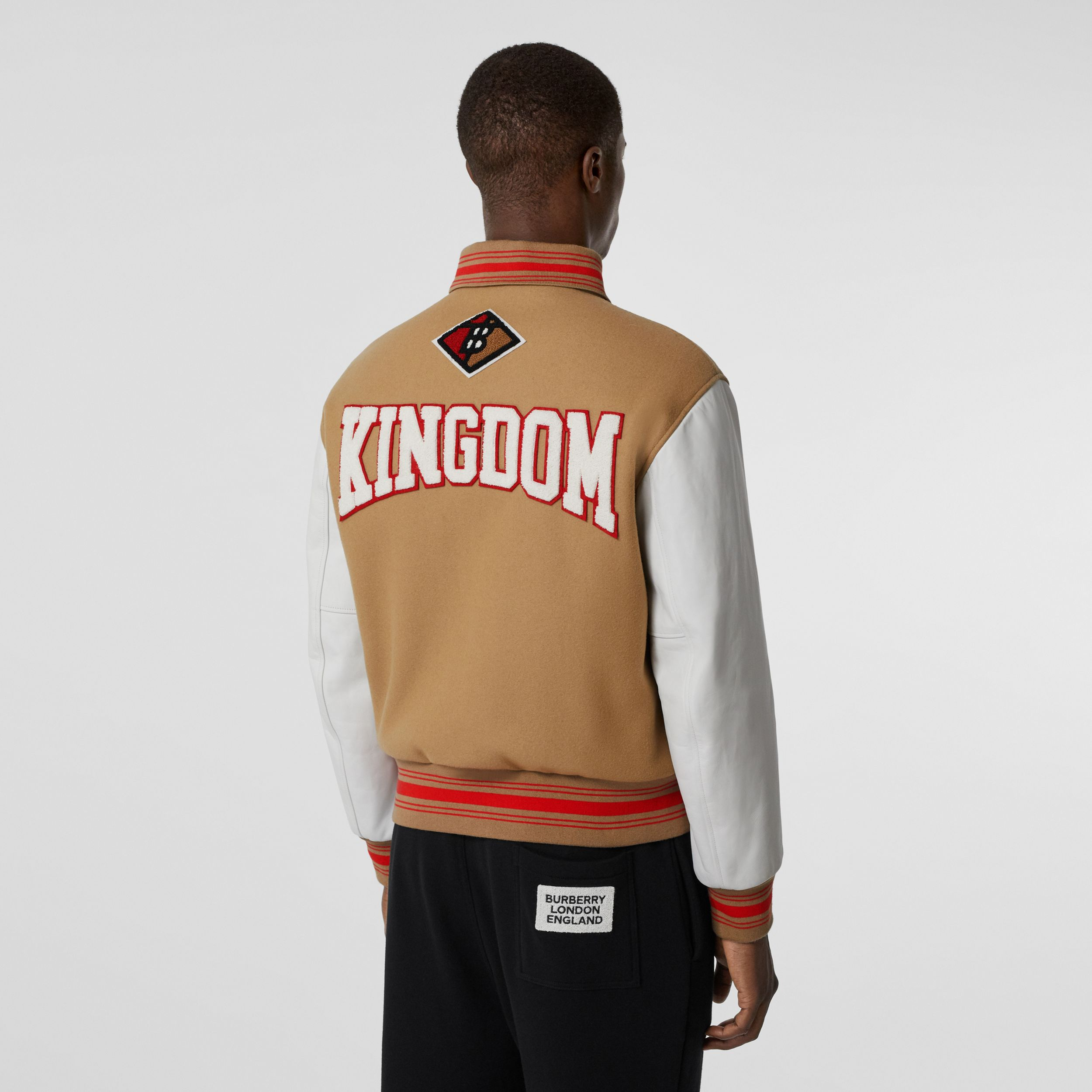 Contrast Sleeve Logo Graphic Wool Bomber Jacket in Honey - Men | Burberry - 3