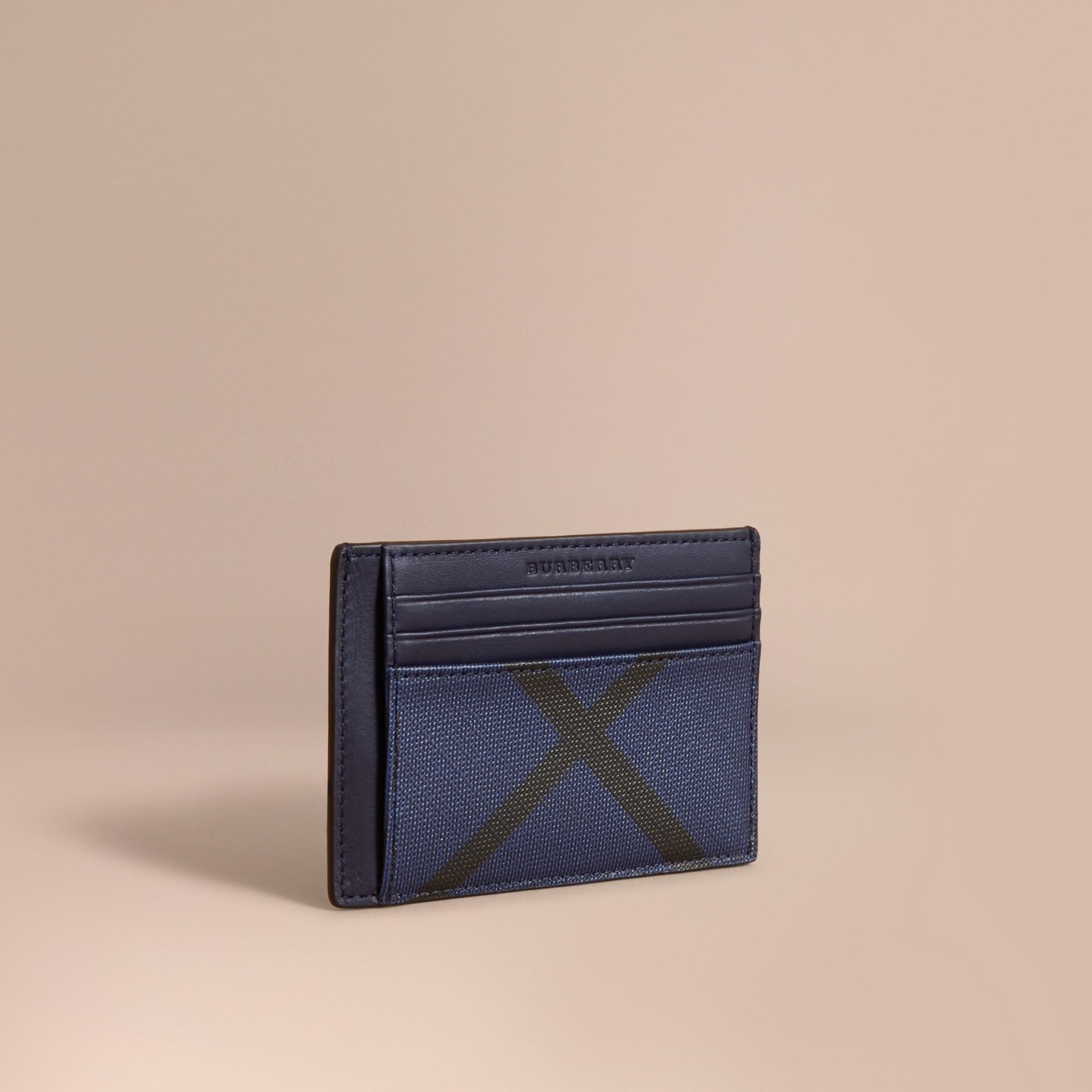 London Check Money Clip Card Case Bright Lapis - gallery image 1