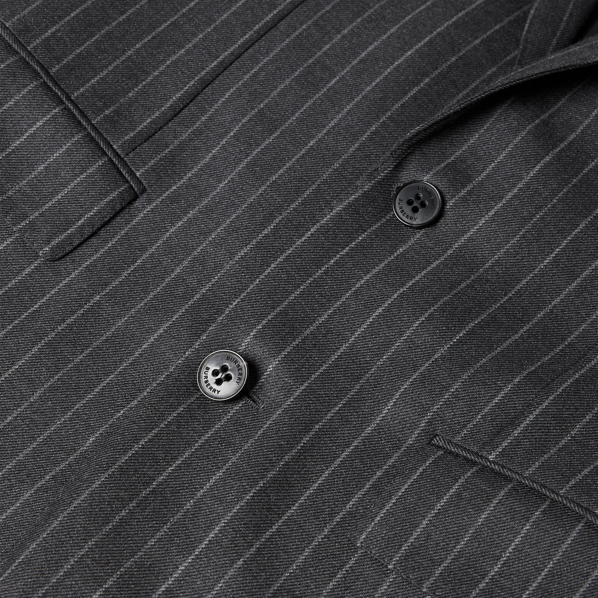 English Fit Pinstriped Wool Suit in Mid Grey Melange - Men | Burberry United Kingdom - gallery image 7