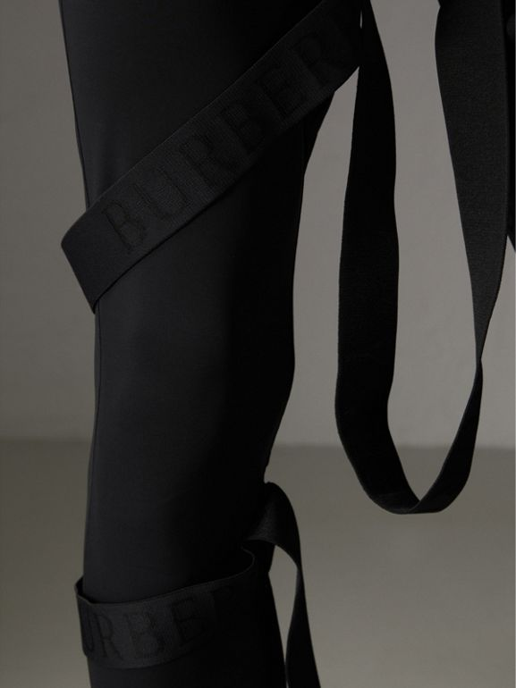 Strap Detail Jersey Leggings in Black | Burberry Australia - cell image 1