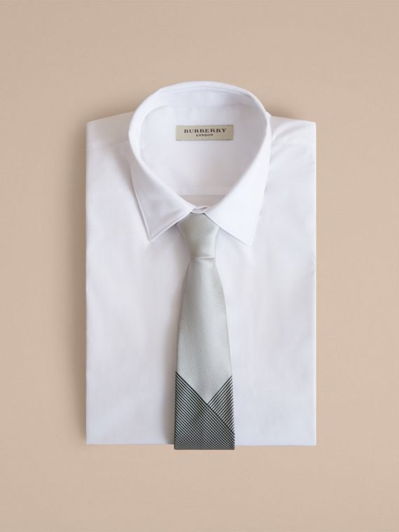 Modern Cut Gingham Check Silk Jacquard Tie in Slate Green - Men | Burberry - cell image 3