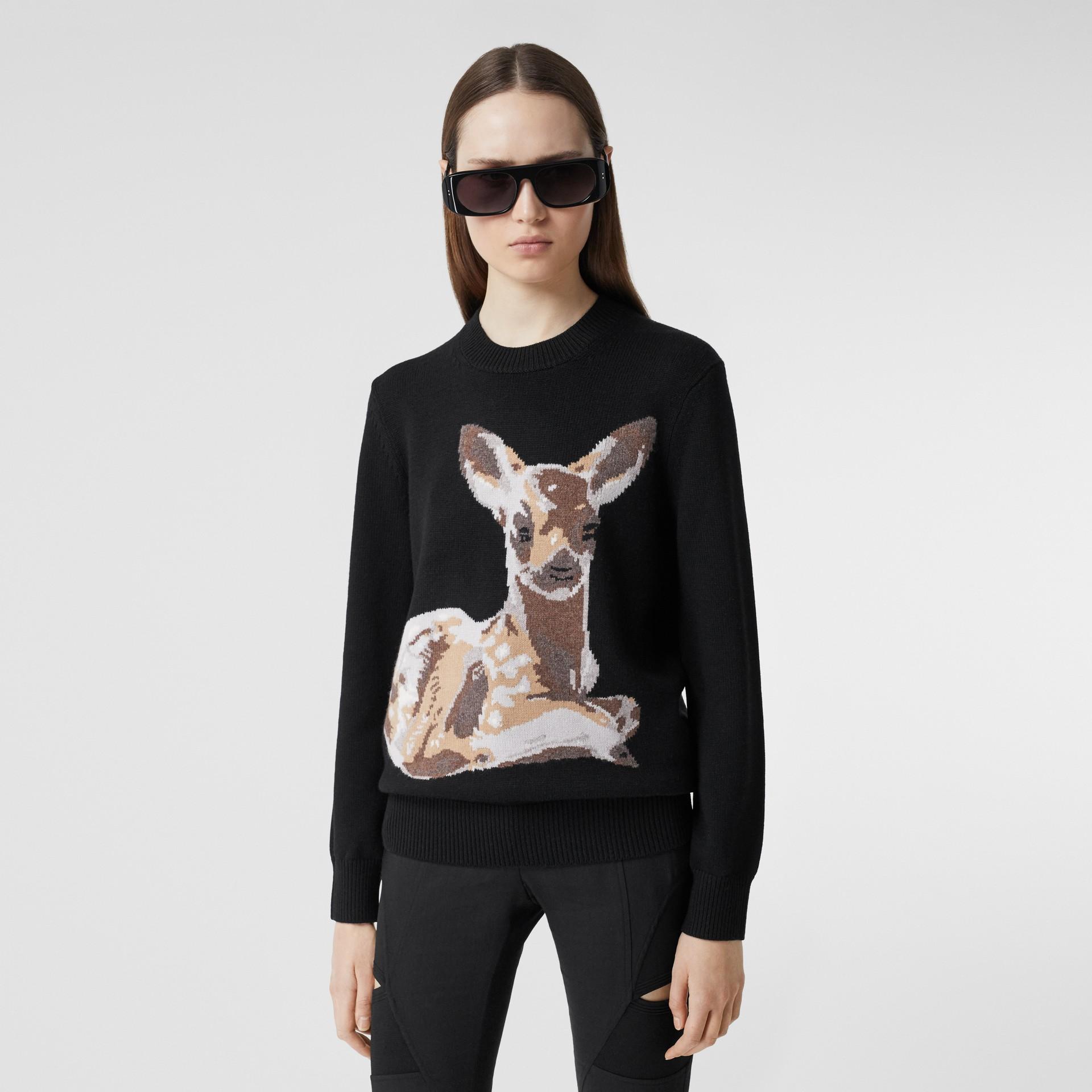 Deer Intarsia Wool Sweater in Black | Burberry - gallery image 0
