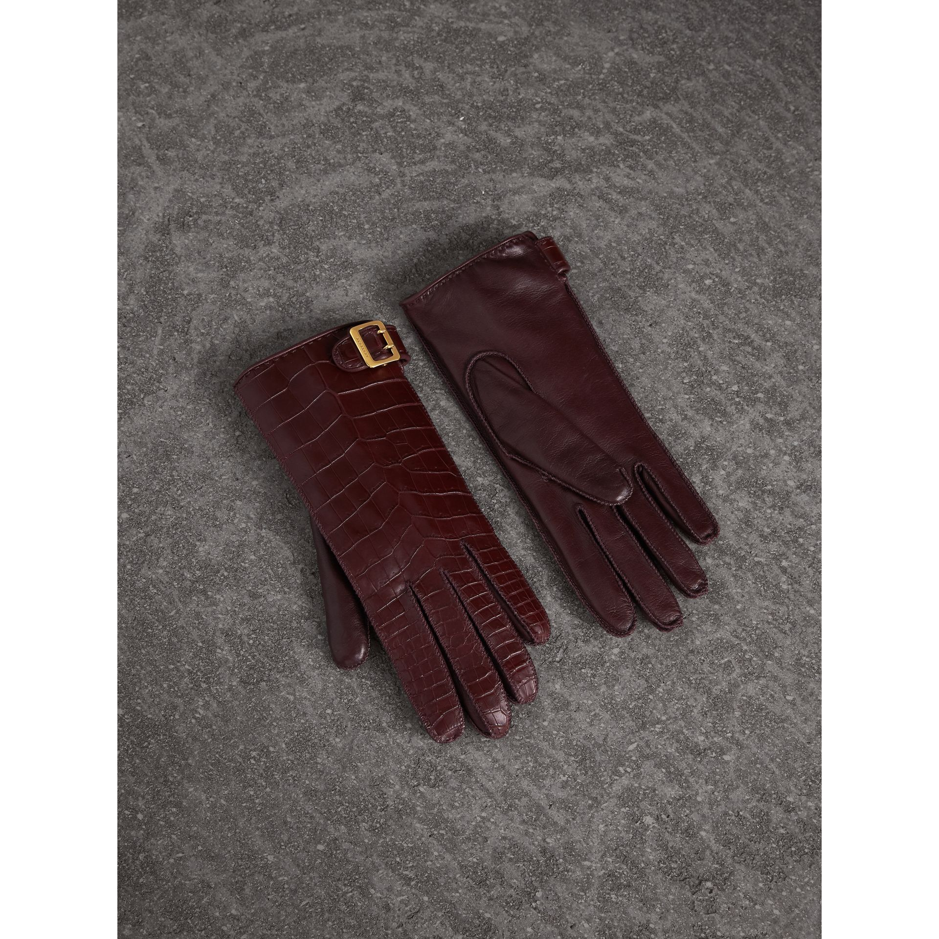 Crocodile and Lambskin Gloves in Burgundy - Women | Burberry - gallery image 0