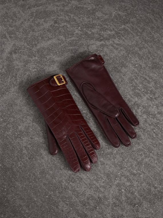 Crocodile and Lambskin Gloves in Burgundy