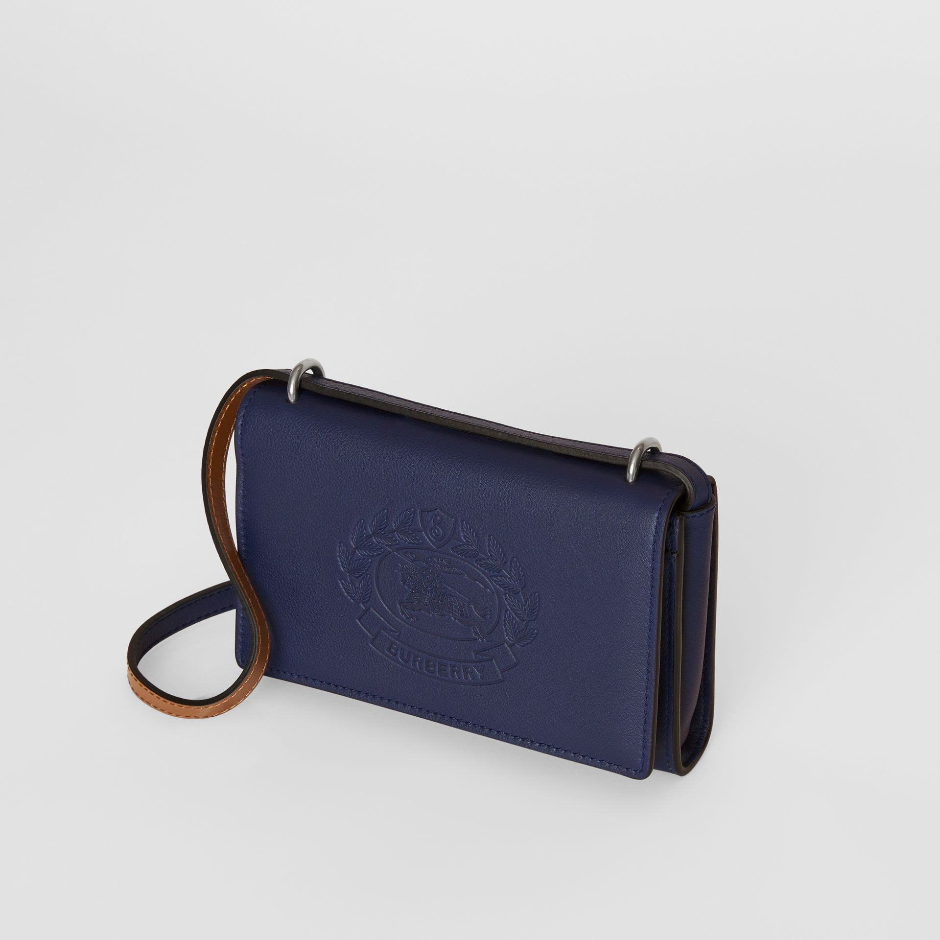 Embossed Crest Leather Wallet with Detachable Strap in Regency Blue - Women | Burberry Canada - gallery image 4