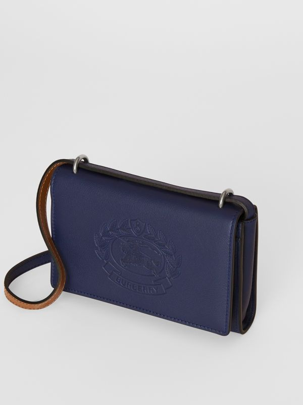 Embossed Crest Leather Wallet with Detachable Strap in Regency Blue - Women | Burberry - cell image 2