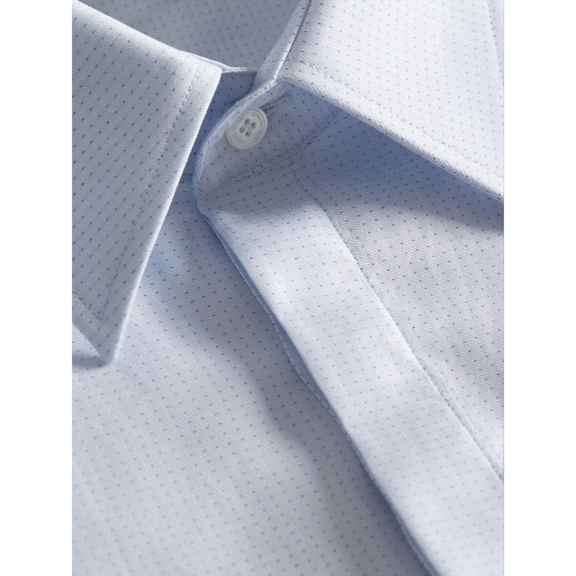 Modern Fit Pin Dot Dobby Cotton Shirt in Light Blue - Men | Burberry - gallery image 2