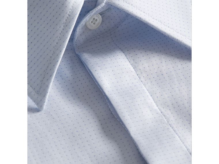 Modern Fit Pin Dot Dobby Cotton Shirt in Light Blue - Men | Burberry - cell image 1