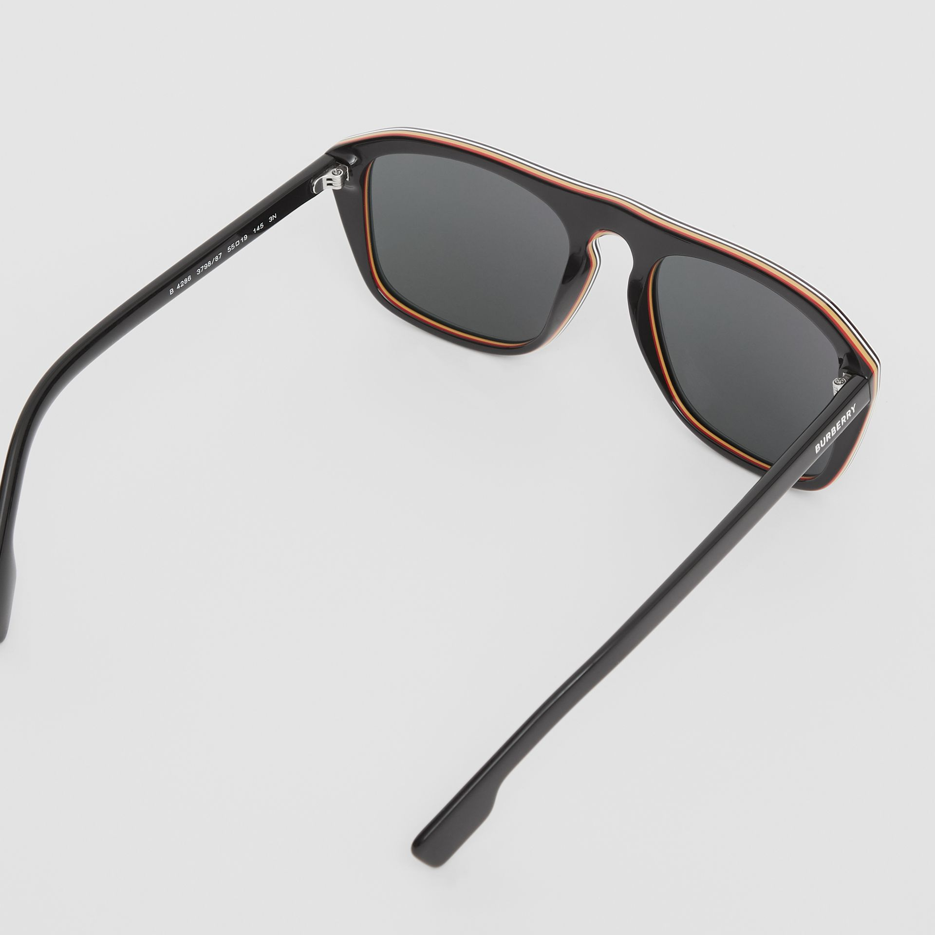 Icon Stripe Detail Square Frame Sunglasses in Black - Men | Burberry United Kingdom - gallery image 3