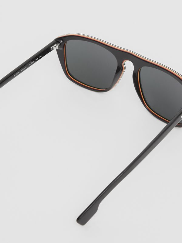 Icon Stripe Detail Square Frame Sunglasses in Black - Men | Burberry United Kingdom - cell image 3