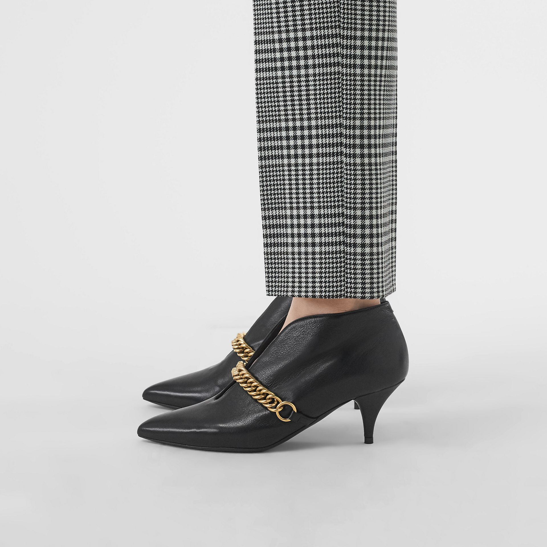 Link Detail Leather Ankle Boots in Black - Women | Burberry - gallery image 2