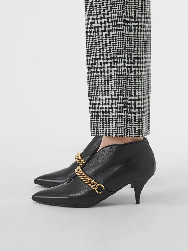 Link Detail Leather Ankle Boots in Black - Women | Burberry United Kingdom - cell image 2