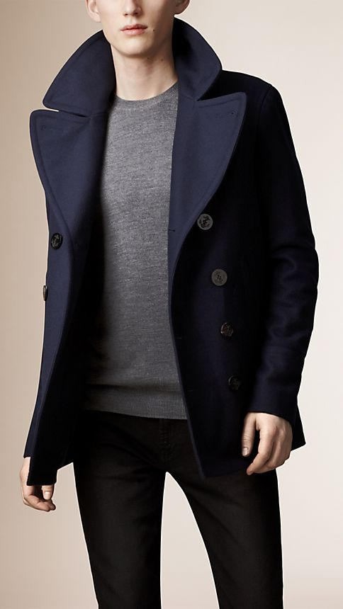 Navy Wool Cashmere Pea Coat - Image 3