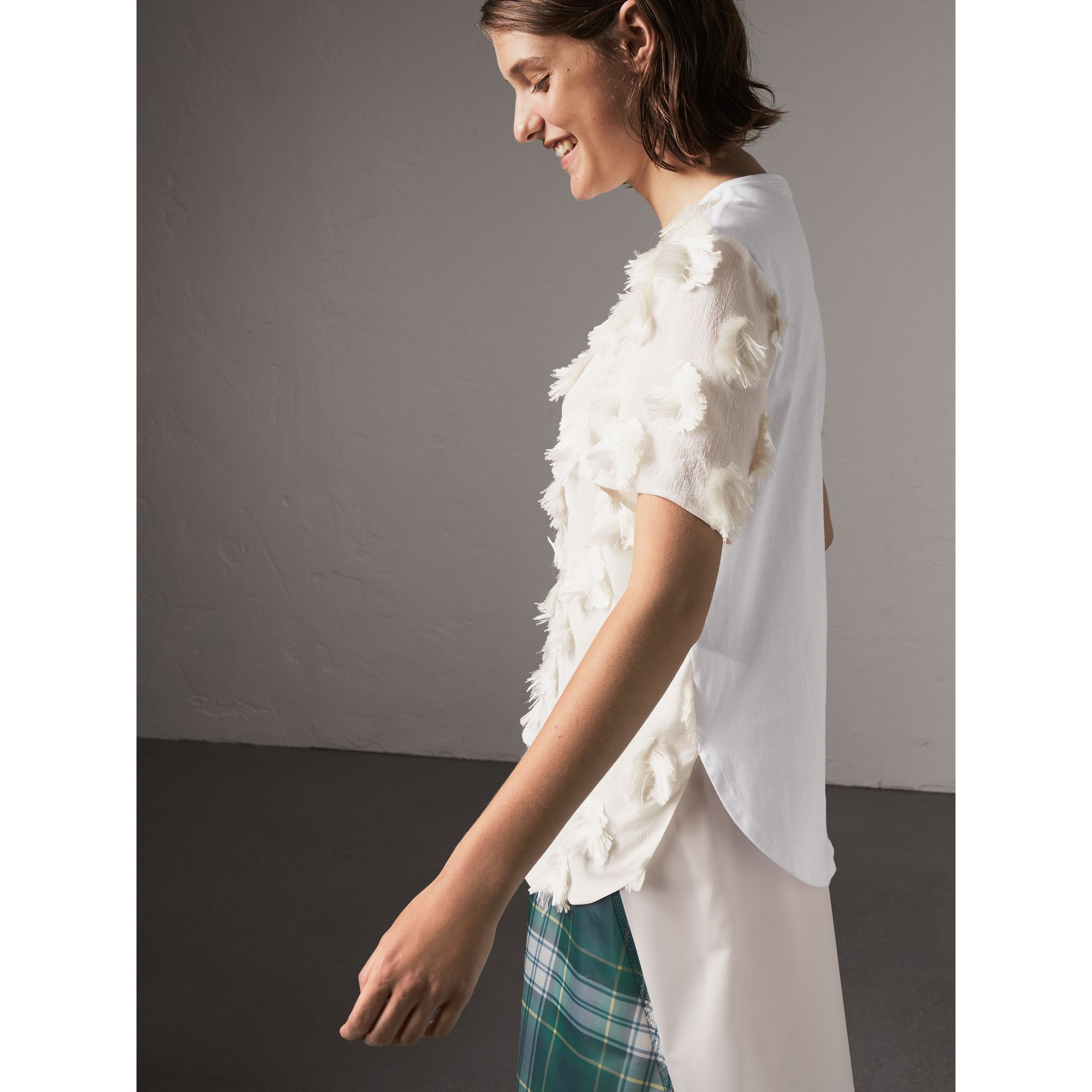 Short-sleeve Fil Coupé Silk Crepon Top in Natural White - Women | Burberry - gallery image 5