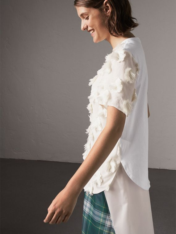 Short-sleeve Fil Coupé Silk Crepon Top in Natural White