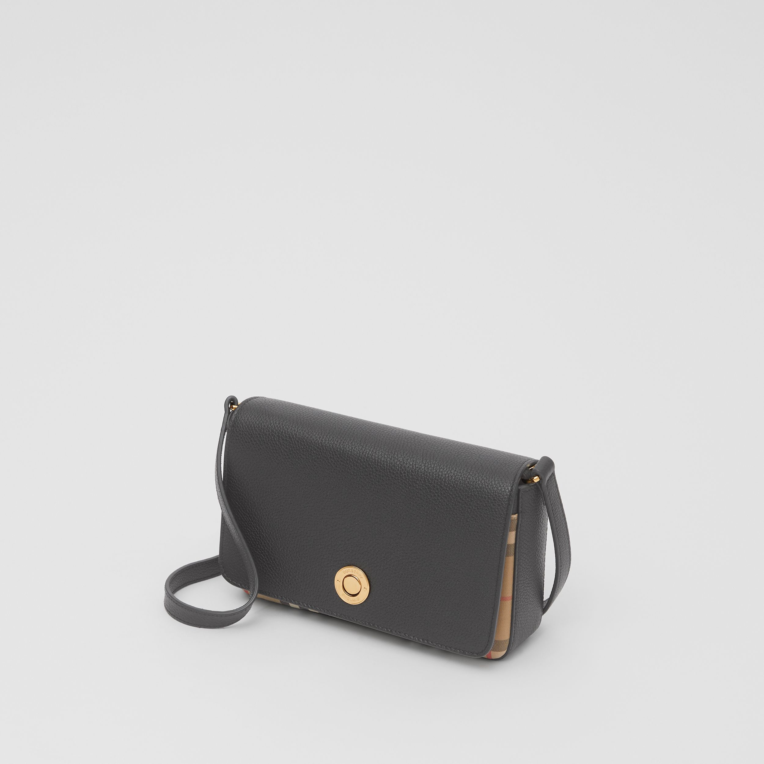 Small Leather and Vintage Check Crossbody Bag in Black - Women | Burberry - 4