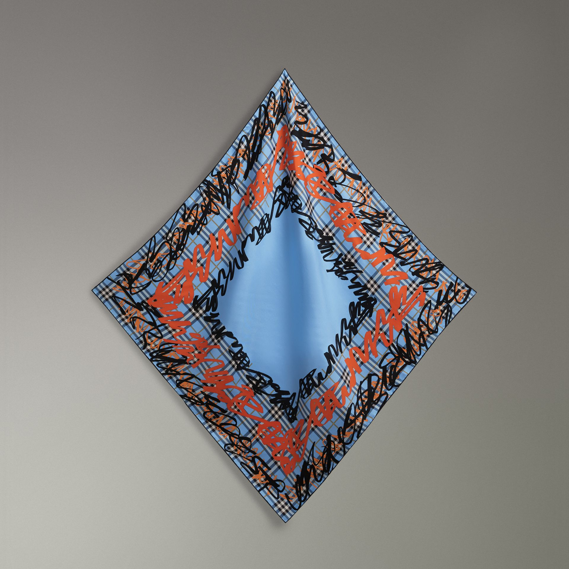 Scribble Check Silk Square Scarf in Light Azure | Burberry - gallery image 0