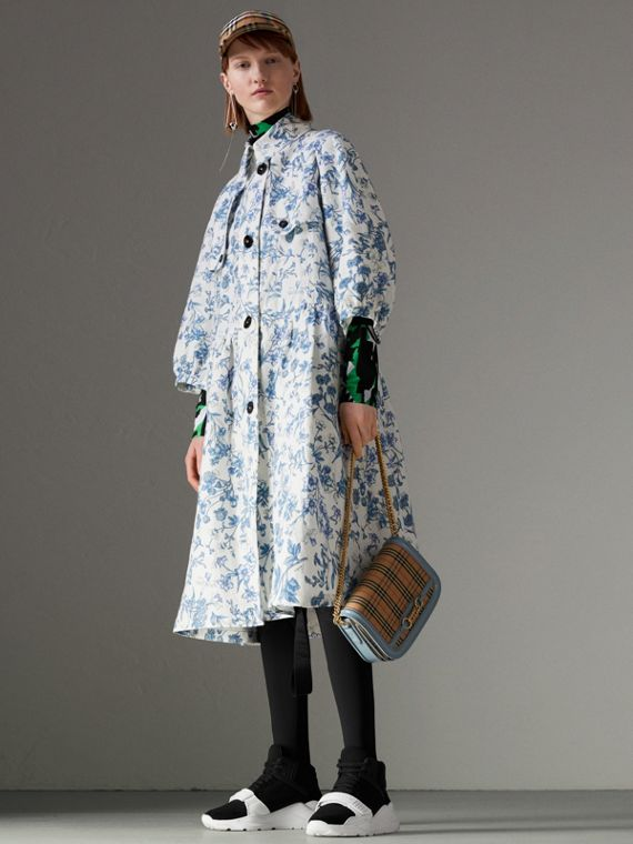 Reissued 2005 Floral Print Linen Dress Coat in Blue China