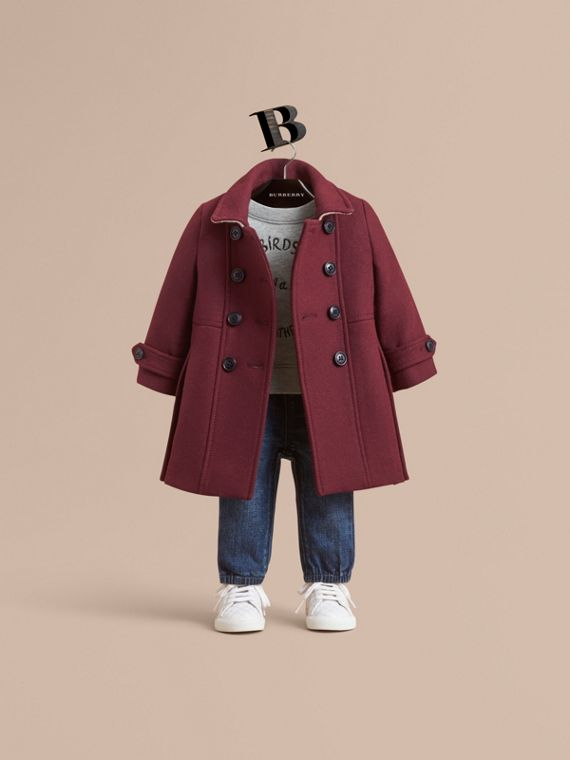 Wool Cashmere Blend Twill Tailored Coat in Garnet | Burberry Singapore