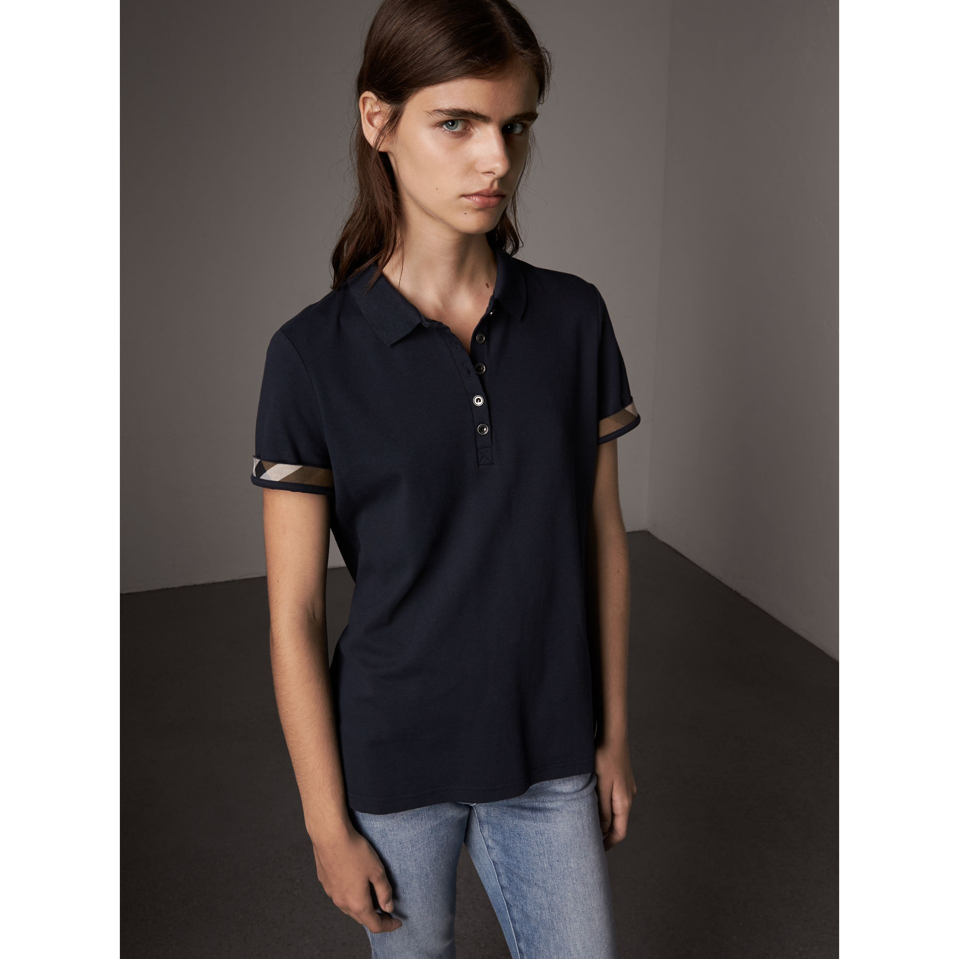Check Trim Stretch Cotton Piqué Polo Shirt in Navy - Women | Burberry United States - gallery image 1