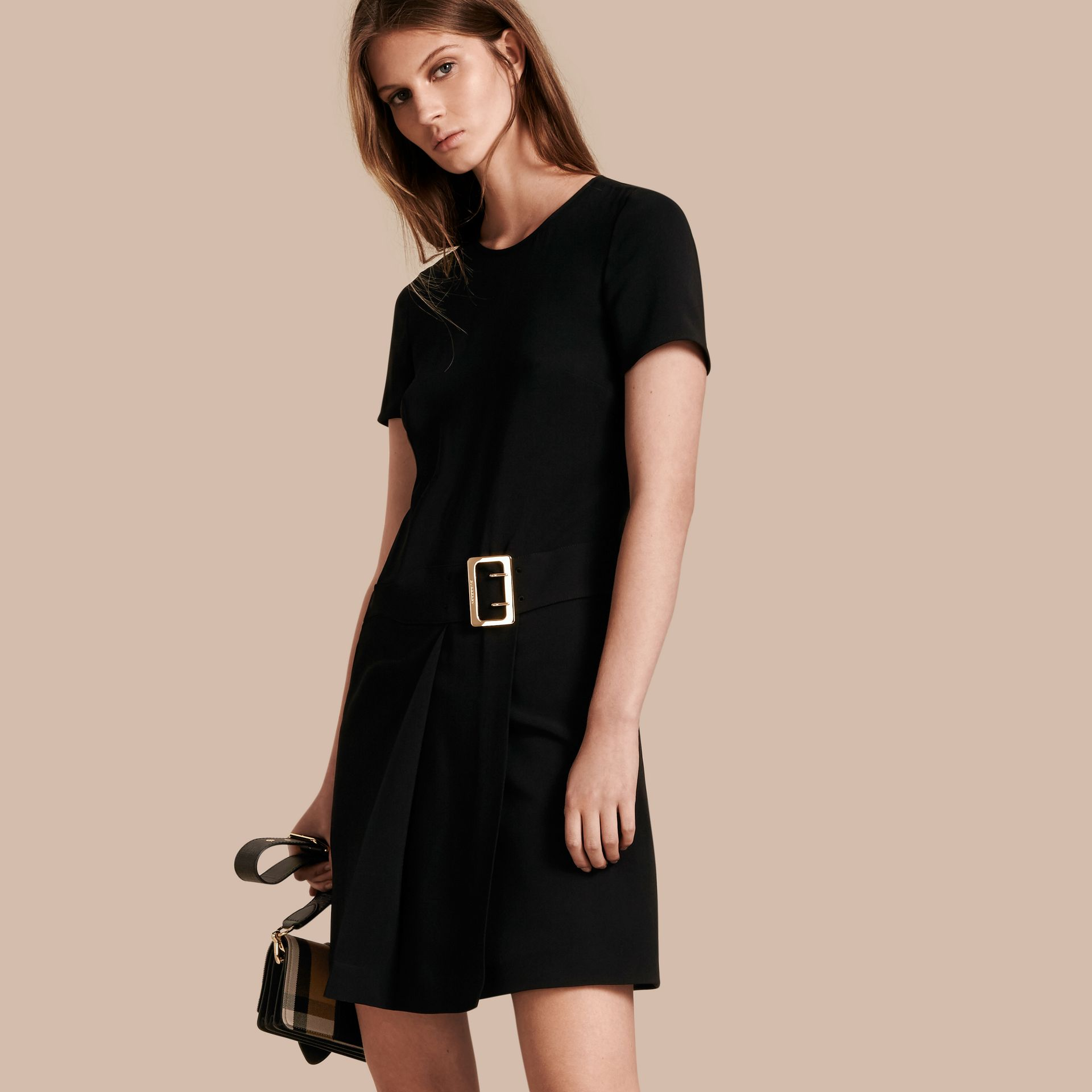 Buckle Detail Pleated Shift Dress in Black - gallery image 1
