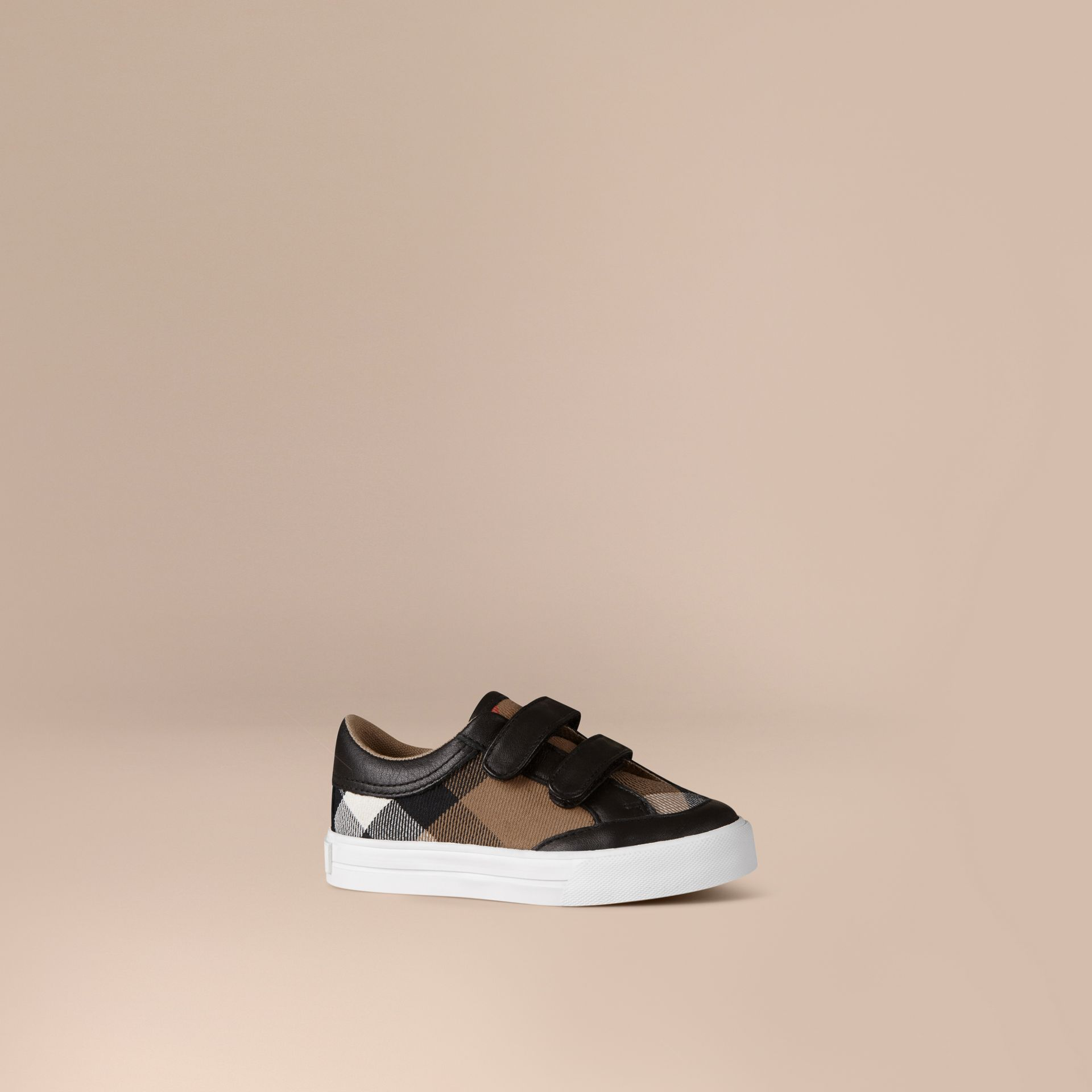 House Check and Leather Trainers Black - gallery image 1