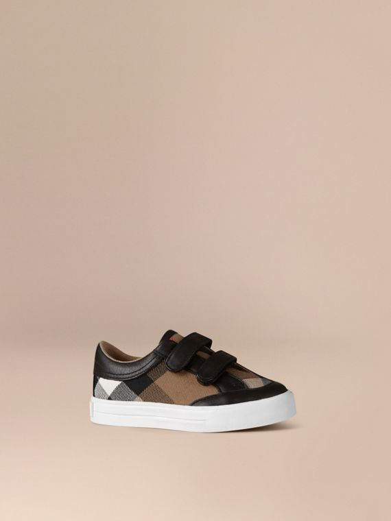 House Check and Leather Trainers in Black | Burberry Hong Kong