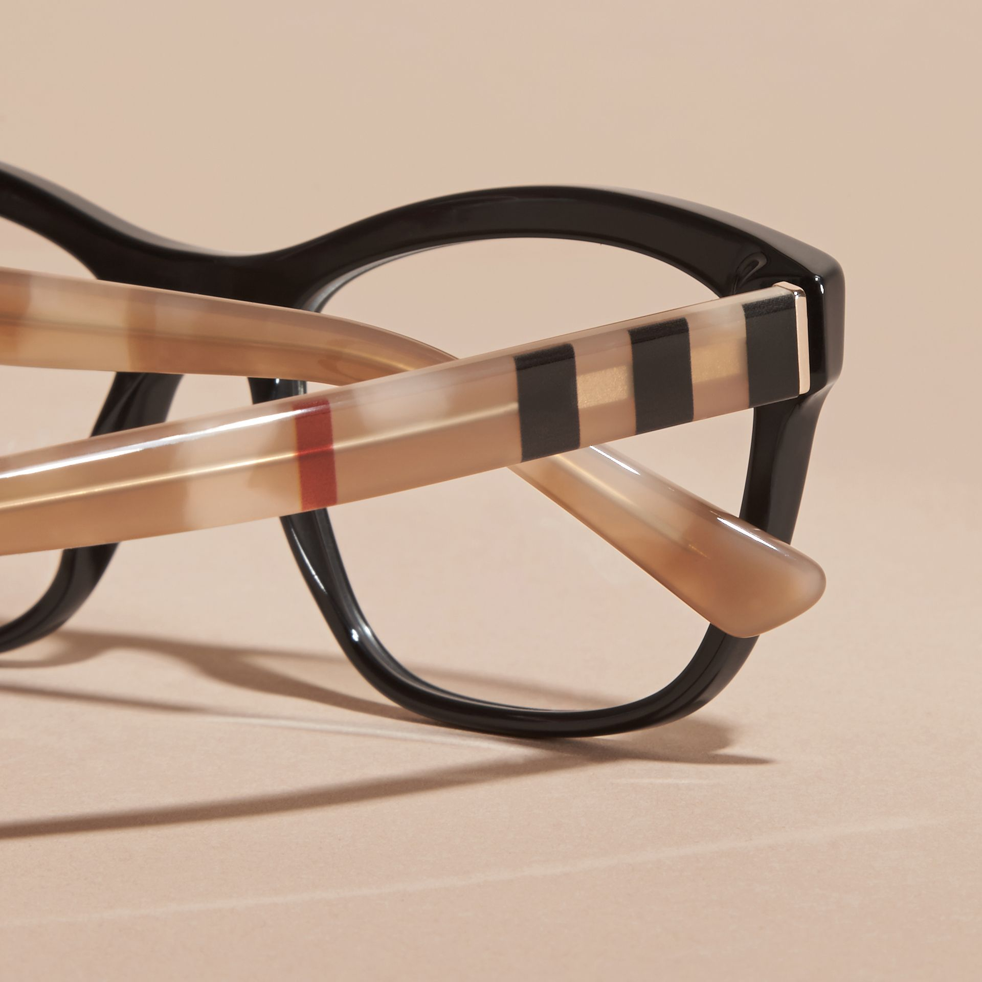 Black Check Detail Square Optical Frames Black - gallery image 2