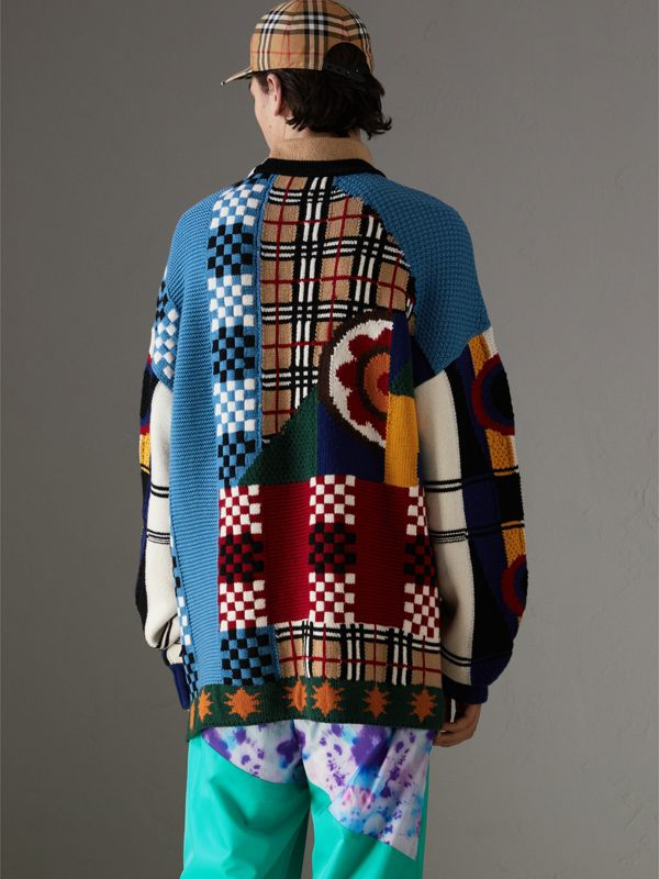 Wool Cashmere Cotton Graphic Intarsia Sweater in Multicolour | Burberry - cell image 2