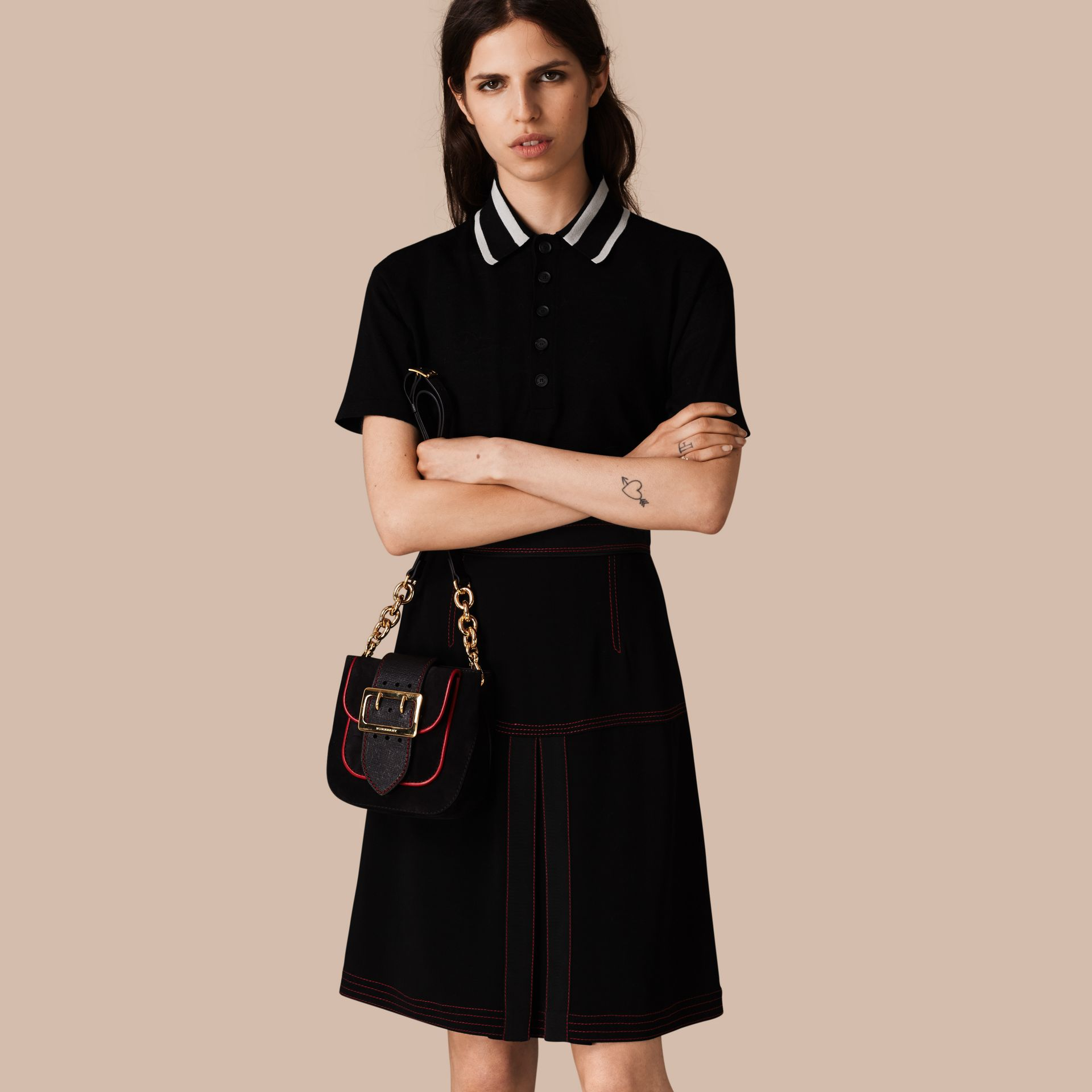 Black Military Pleat A-line Skirt - gallery image 1