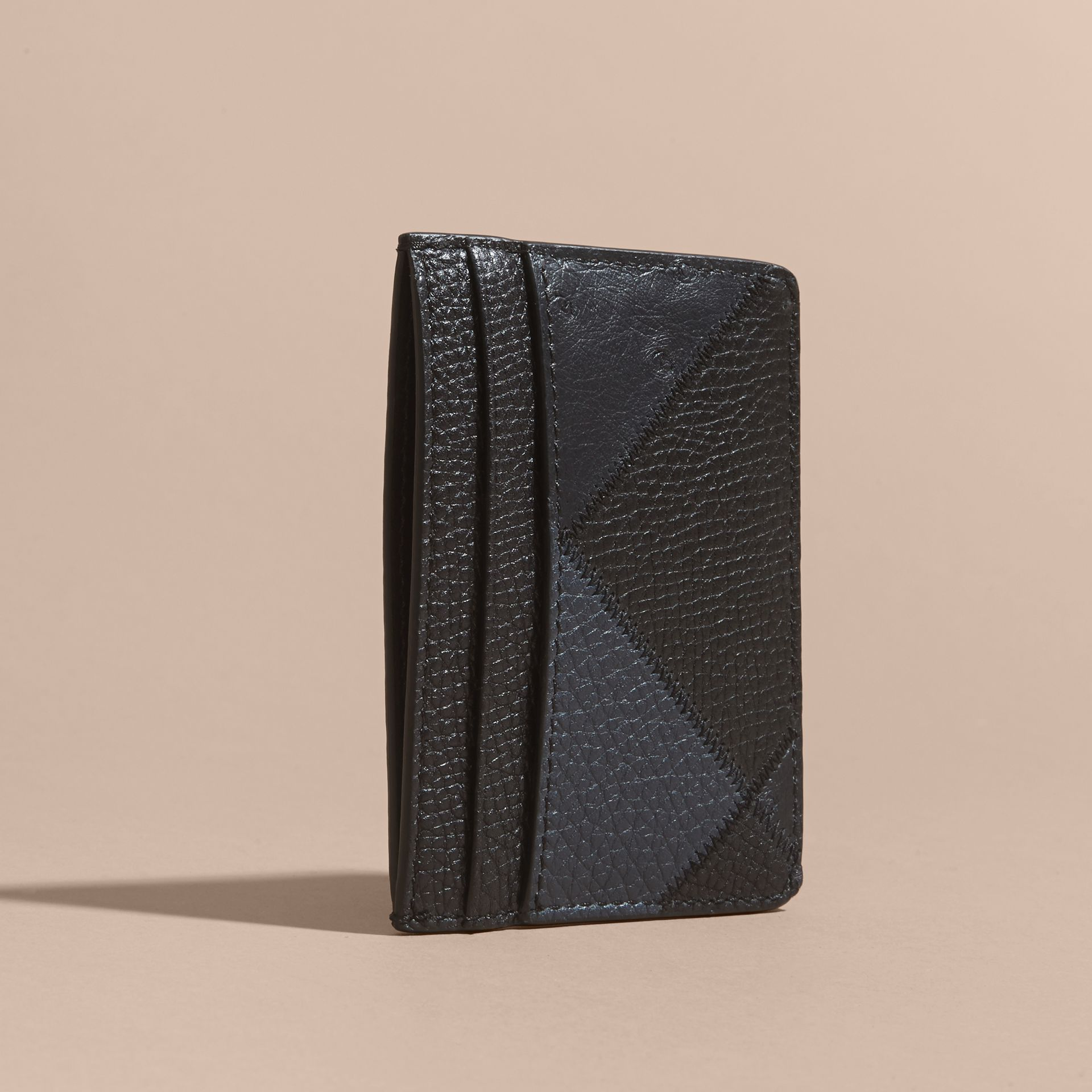 Dark navy Patchwork Grainy Leather and Ostrich Card Case - gallery image 4