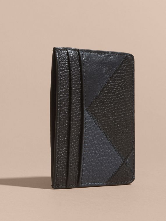 Dark navy Patchwork Grainy Leather and Ostrich Card Case - cell image 3