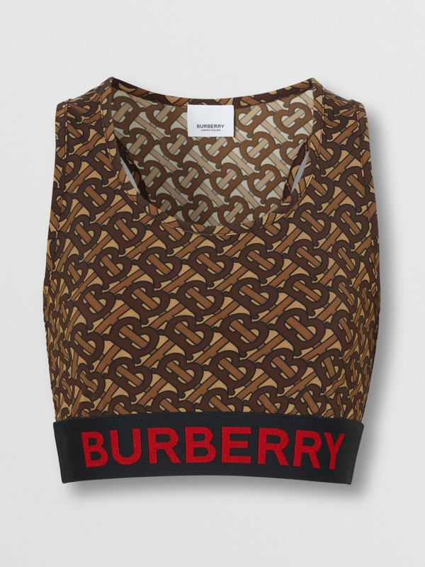 Monogram Print Stretch Jersey Cropped Top in Bridle Brown - Women | Burberry - cell image 3