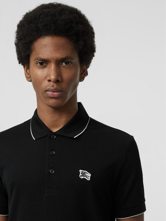 Tipped Cotton Piqué Polo Shirt in Black - Men | Burberry - cell image 1
