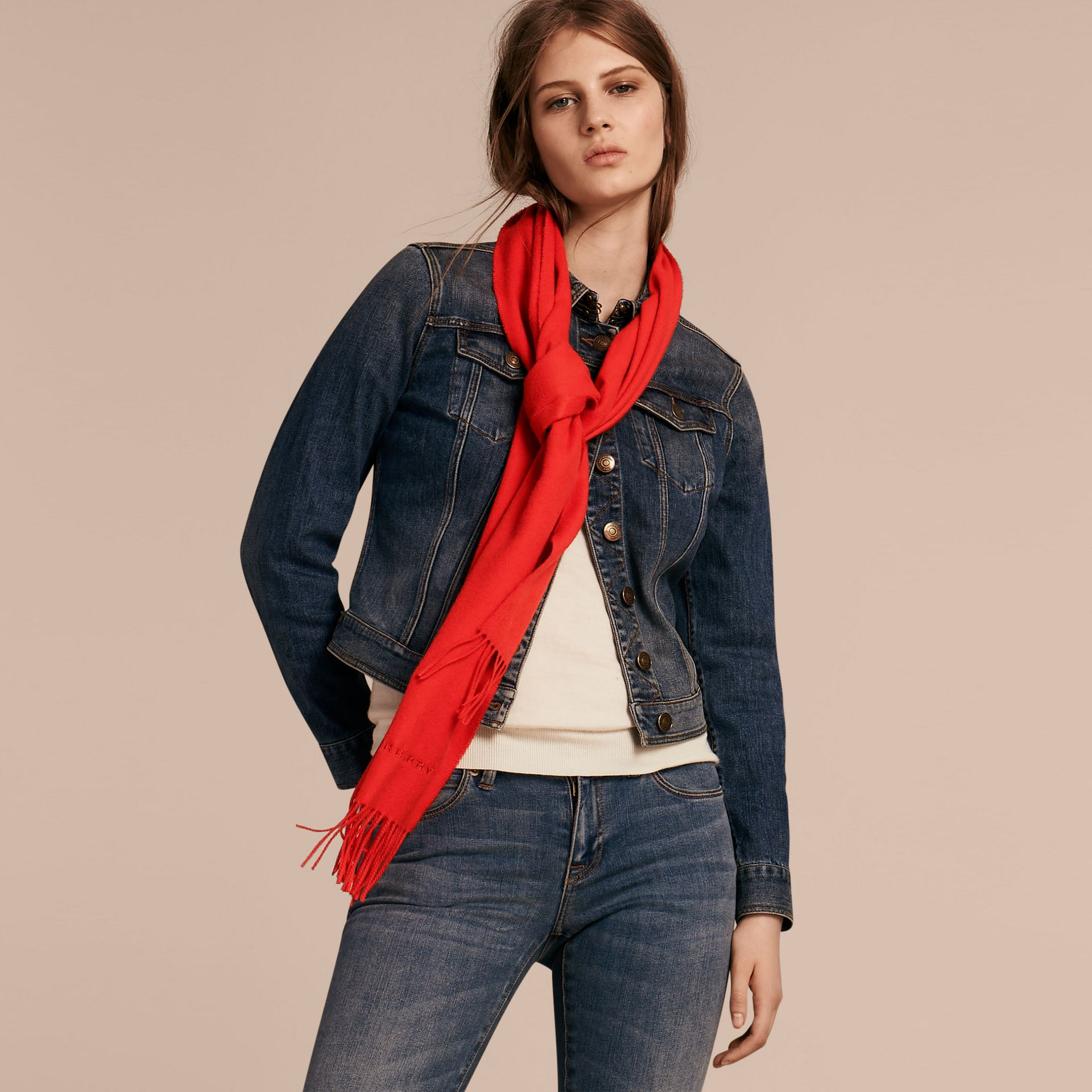 The Classic Cashmere Scarf in Bright Orange Red - gallery image 3
