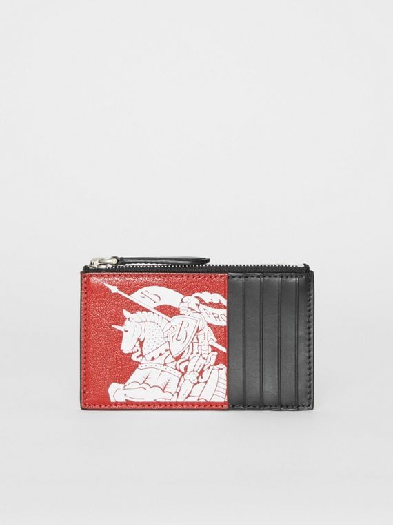 Logo Print Leather Zip Card Case in Rust Red/black