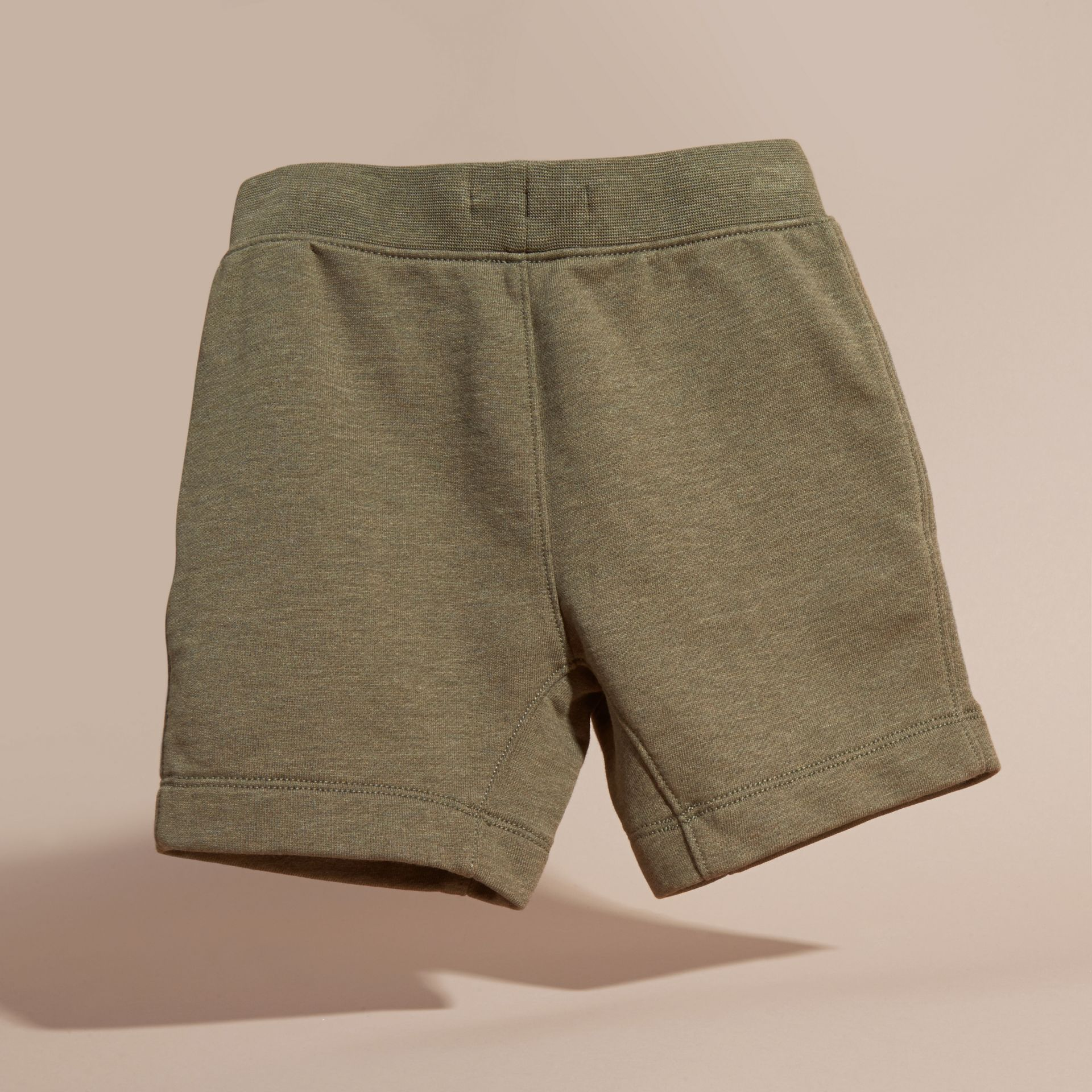 Cotton Jersey Drawcord Shorts in Khaki Green Melange - Boy | Burberry - gallery image 4