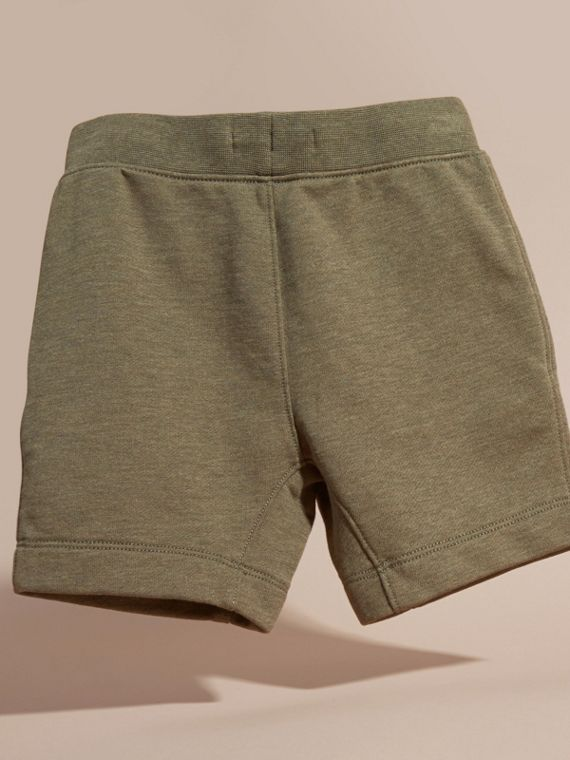 Cotton Jersey Drawcord Shorts in Khaki Green Melange - Boy | Burberry - cell image 3