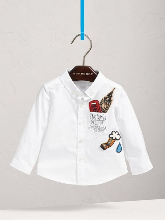 London Icons Cotton Oxford Shirt in White | Burberry - cell image 2