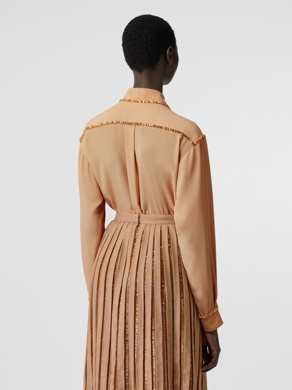 Crystal Detail Silk Oversized Shirt in Camel - Women | Burberry United Kingdom - cell image 2