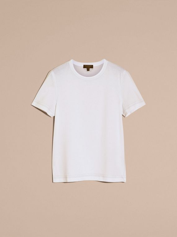 White Topstitch Detail Cotton T-shirt White - cell image 3