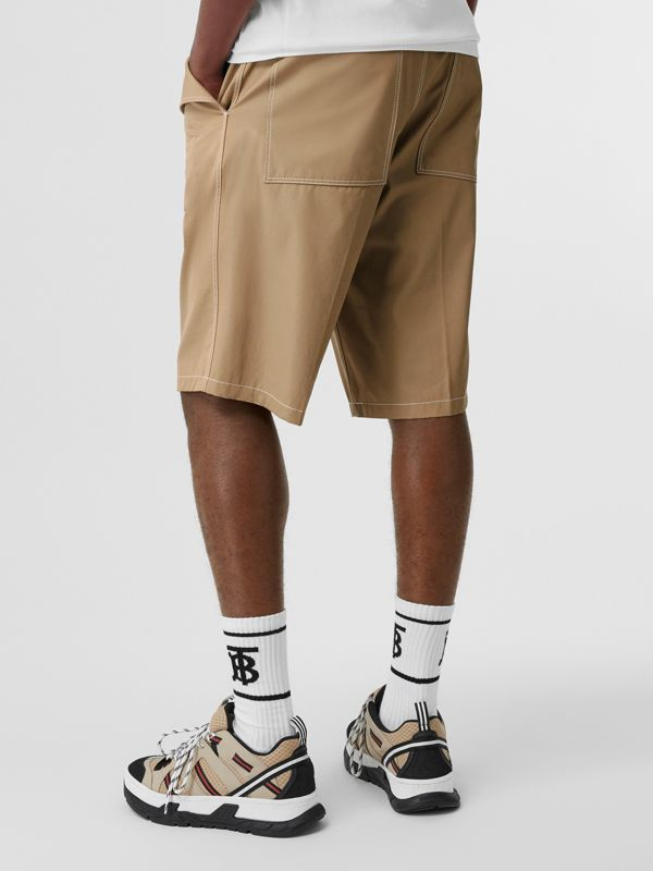 Pocket Detail Cotton Tailored Shorts in Dark Honey - Men | Burberry - cell image 2