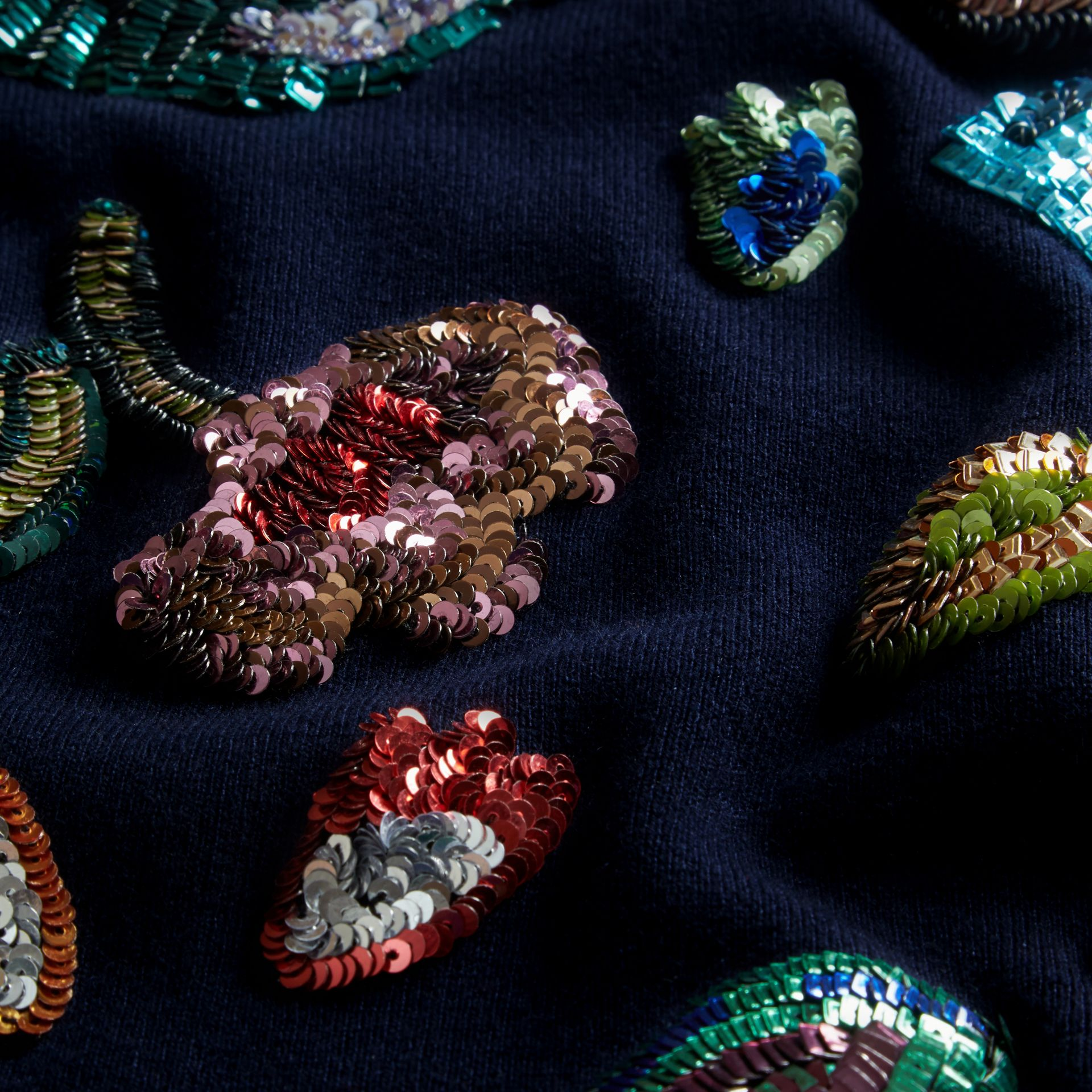 Navy Cashmere Sweater with Hand-embroidered Sequin Flowers - gallery image 2